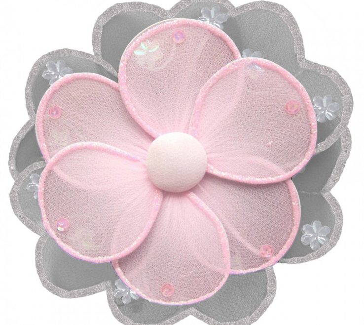 Astonishing Flower Wall Decorations Of Gray & Pink Decor For Nurseries