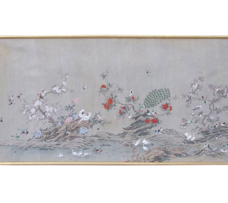 Astonishing Framed Objects Wall Art Of Painted And Grey Canvas Chinese Style Decor