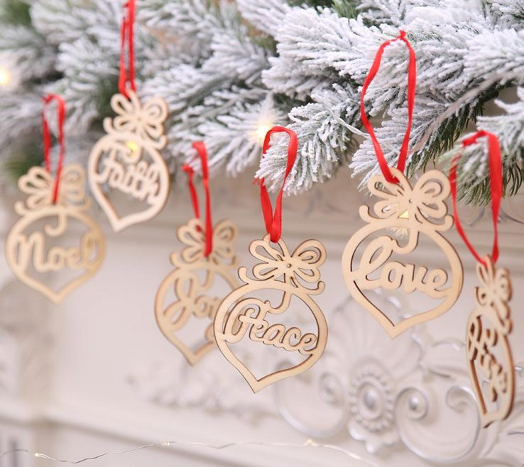Astonishing Heart Decorations Home Of 3.8x2.8 Inch Christmas Letter Wood Bubble Pattern
