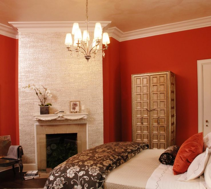 Astonishing Orange Interior Design Of Small Bedroom Color Schemes