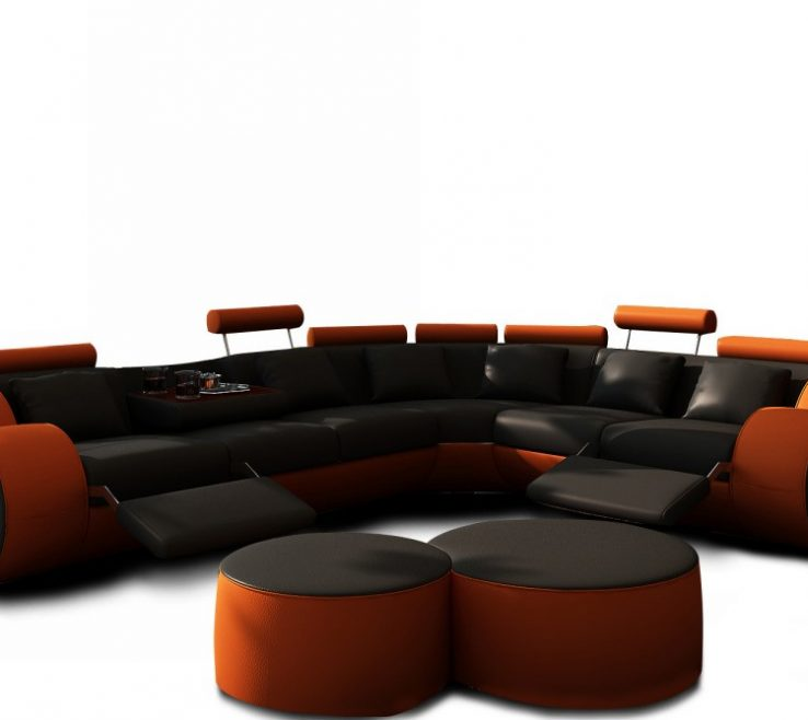 Attractive Brown And Orange Sofa