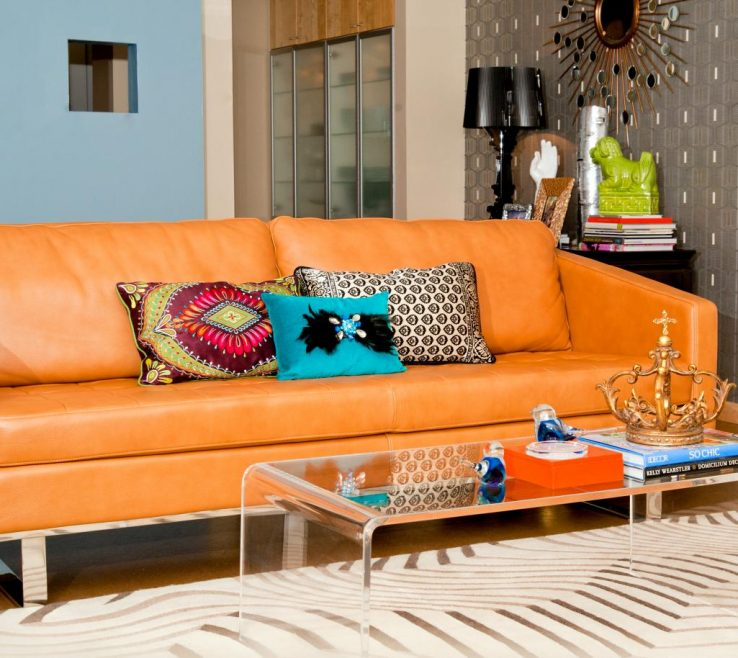 Attractive Brown And Orange Sofa Of Blue Eclectic Living Room With Retro Style