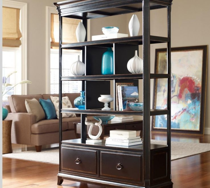 Attractive Room Dividers Of Black Wood Shelf Divider Along Features Light