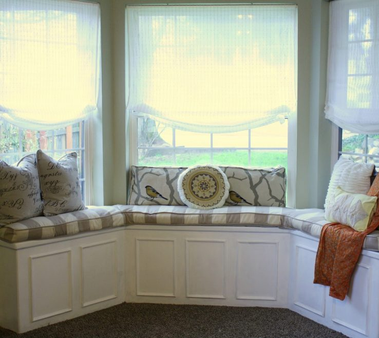 Awesome Bay Window Furniture Of Large Design With Half Way Lace Shade