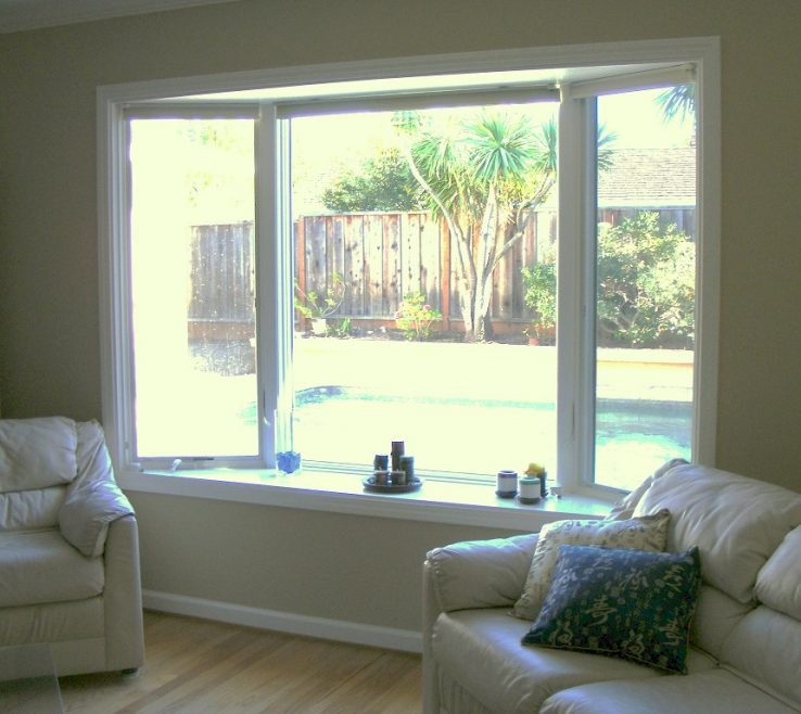 Awesome Bay Window Furniture Of Seat With Backyard Pool View