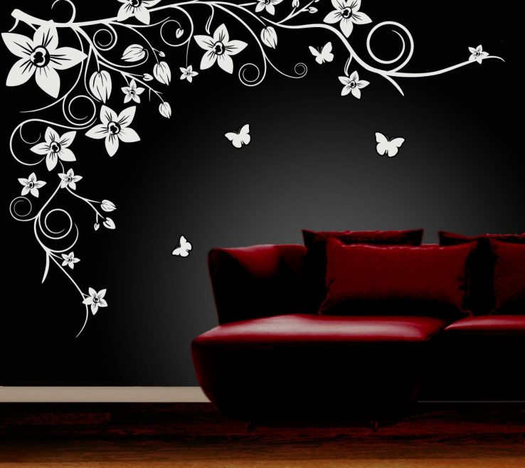 Awesome Vinyl Wall Art Ideas Of Design : Black Flower Simple Themes .