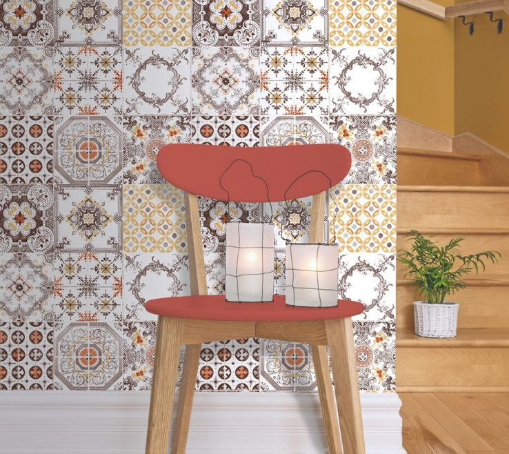 Awesome Wallpaper Designs For Kitchen Of Muriva Tile Pattern Retro Floral Motif Bathroom