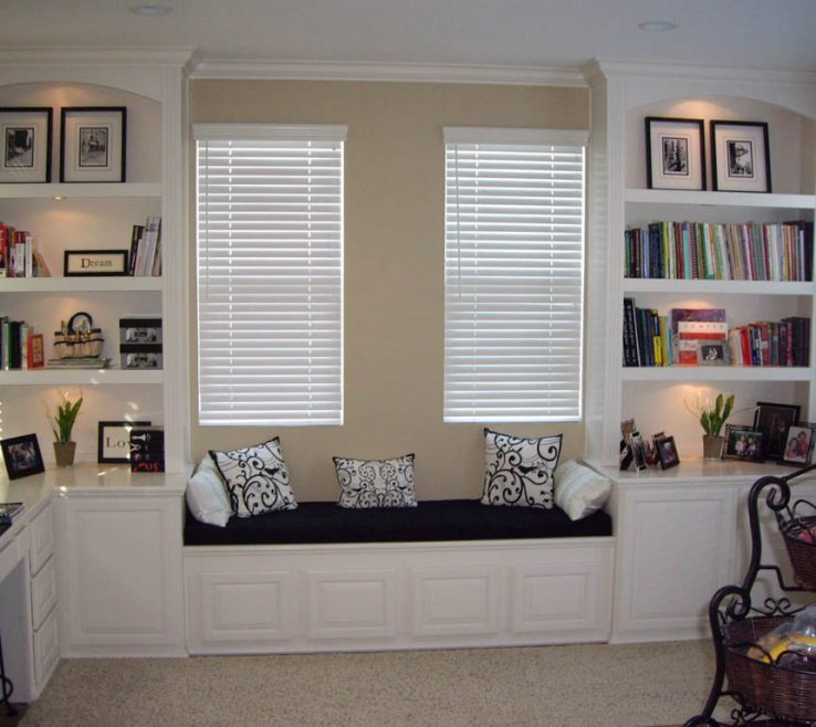 Beautiful Built In Home Office Of White Book Shelves And Window Seat Custom