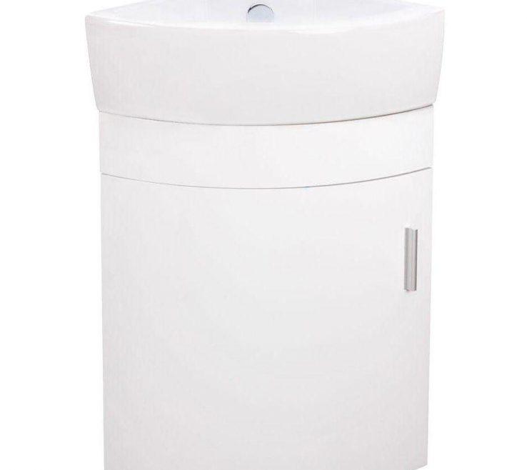 Beautiful Corner Sink Vanity Of 17.5 In. With Porcelain Wall Mounted Bathroom
