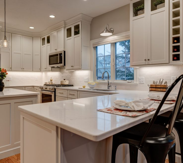 Beautiful Kitchen Peninsula With Seating Of Remodel For And Island For Prepping. Wine