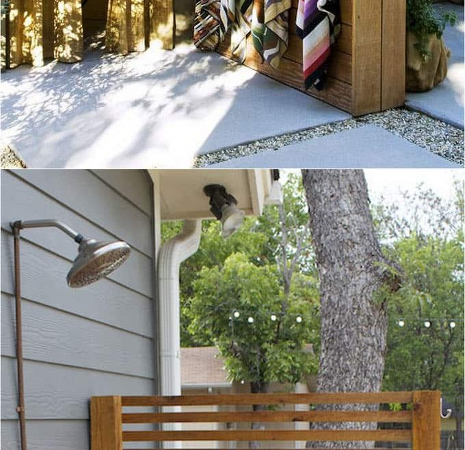 Beautiful Outdoor Shower Floor Ideas Of One Panel Enclosure