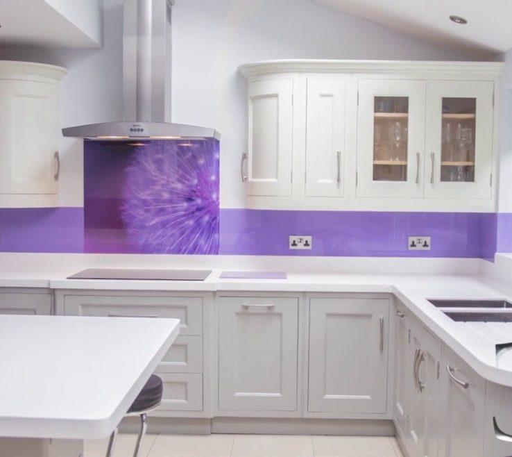 "Beautiful Printed Glass Backsplash Of ""purple Dandelion"" Kitchen Splashback Creoglass"