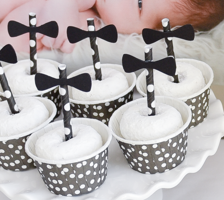 Black And White Decorating Ideas For A Party Of Dessert Table Closeup Donuts In Polka Dot