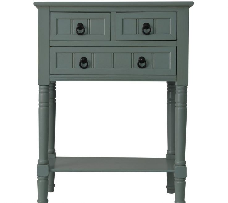 Blue Gray Decor Of Therapy Antique Iced 3 Drawer Console Accent Table