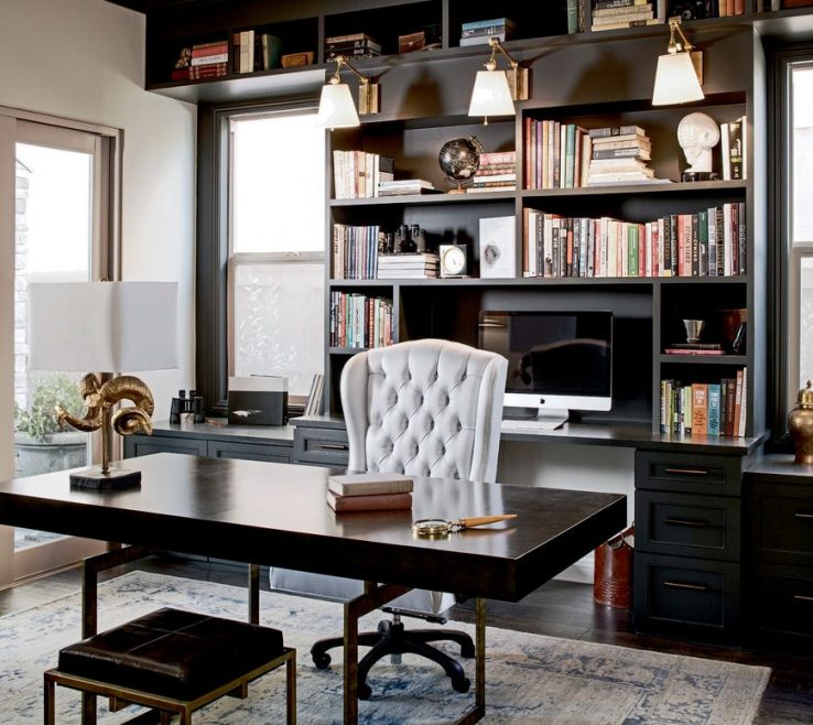 Brilliant Built In Home Office Of Black Traditional With Black Black