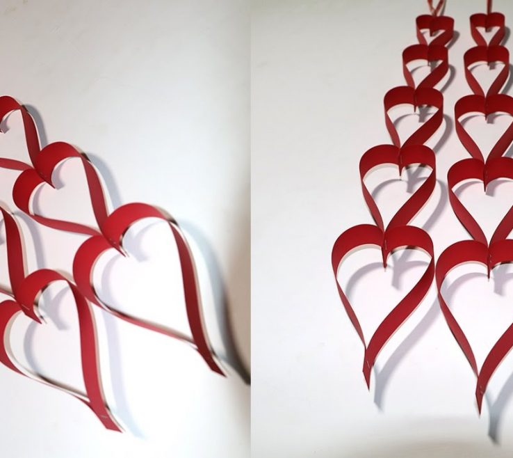 Brilliant Valentine Room Decorations Of Diy Decoration Craft Paper Heart Hanging