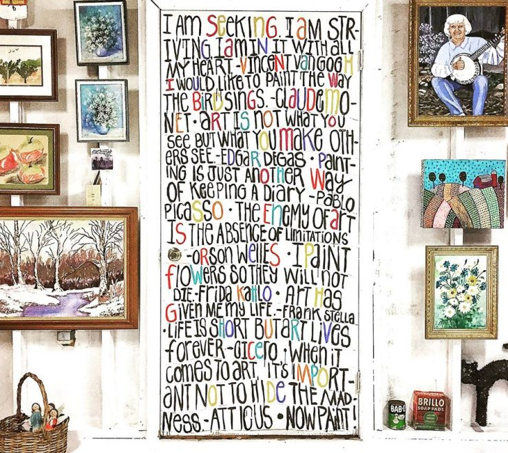 Captivating Art Studio Ideas Of Diy Wall Mural With Quotes