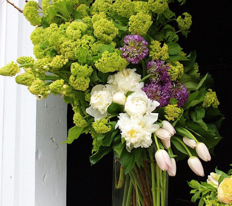 Captivating Peony Flower Arrangement Ideas Of Vibernum Peonies And Tulips Angled Downward