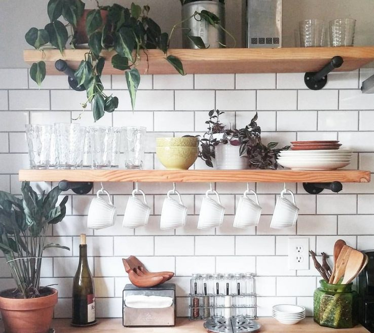 Captivating Wall Mounted Kitchen Shelves Of Open Shelves Shelves Floating In Kitchen Open