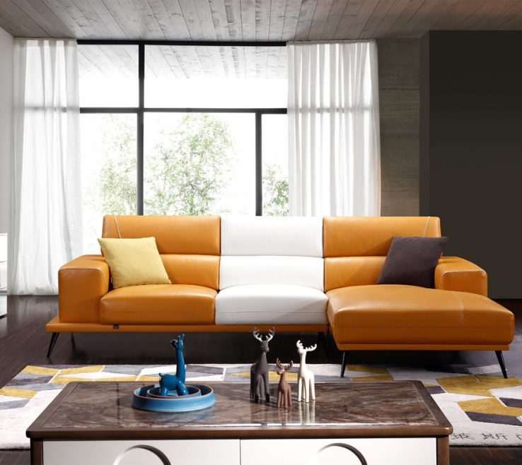 Charming Brown And Orange Sofa Of Divani Casa Bardem Modern Andamp White Eco Leather