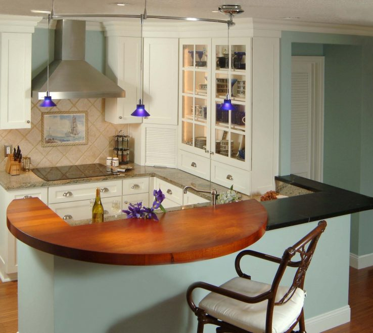 Charming Kitchen Peninsula With Seating Of Wood Pub Stools Gray And Walnut Pendant