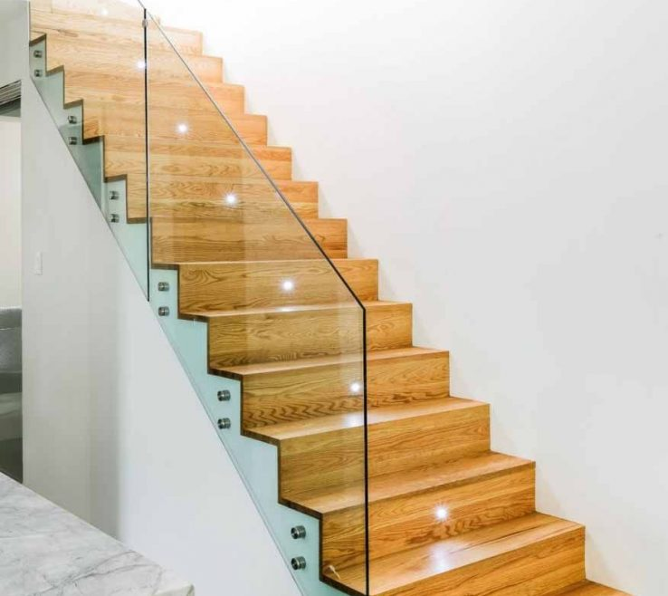 Cheap Stair Tread Ideas Of Foxy Glass Railings Design Feats Wooden Staircase