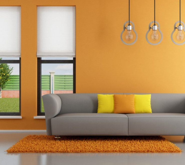 Cool Orange Interior Design Of Wall