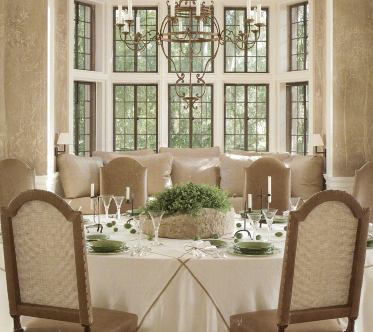 Decorating Bay Windows Of Minimalist Window Design In Formal Dining Room