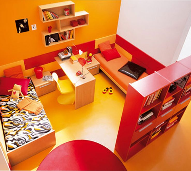 Decorating With Yellow And Red Of Superb Kid Bedroom Interior Digital Art