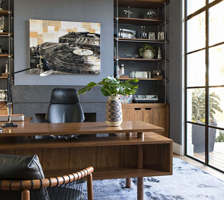 Elegant Built In Home Office Of The Owner Has Custom Brass And Walnut