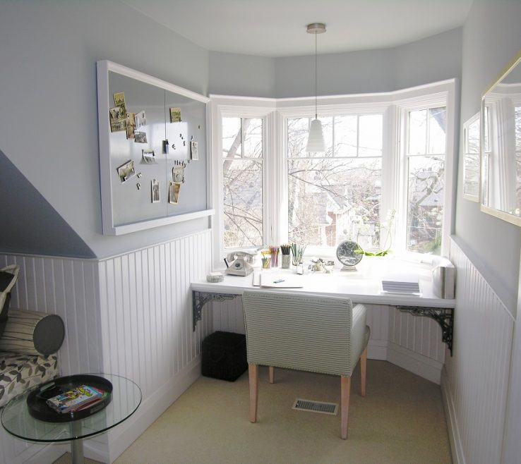 Elegant Decorating Bay Windows Of White Window With Small Study Area