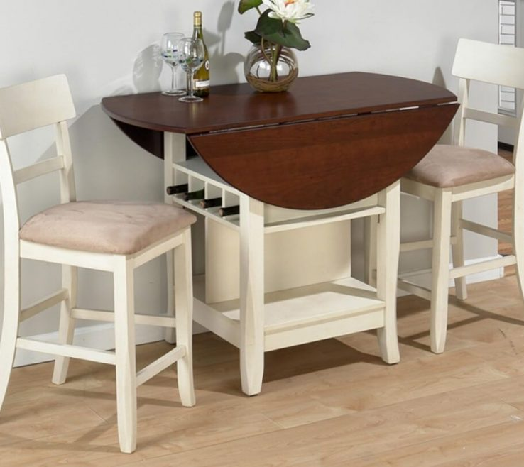 Elegant Diy Small Kitchen Table Of Kitchen: Inspiring White Drop Leaf With Bottle