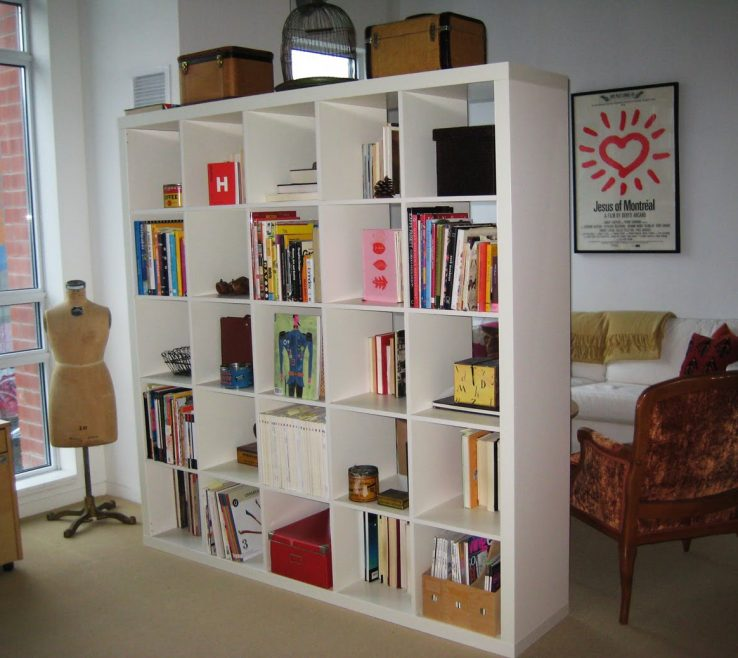 Elegant Room Dividers With Storage Of White Finished Open Book Rack As Divider