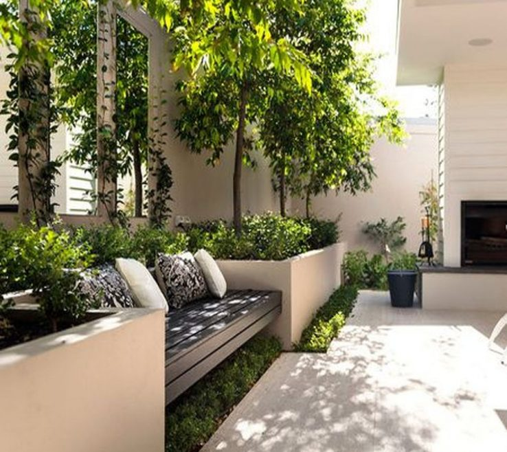 Elegant Small Seating Area Of Courtyard Garden With Design And Layout 108