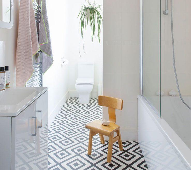 Enchanting Vinyl Flooring Modern Of Monochrome Bathroom With Geometric Floor Tiles
