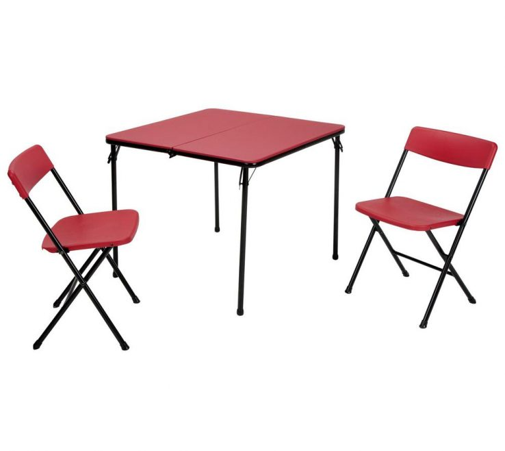 Endearing Design Folding Table Of Cosco 3 Piece Red And Chair Set