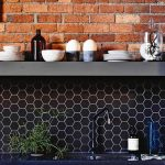 Endearing Red Brick Kitchen Wall Tiles Of Walls With Exposed And Black Hexagon Backsplash