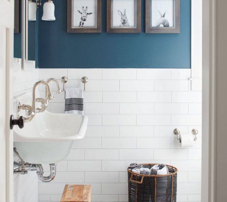 Enthralling Modern Bathroom Walls Of White Subway Tile + Blue Accents Paint