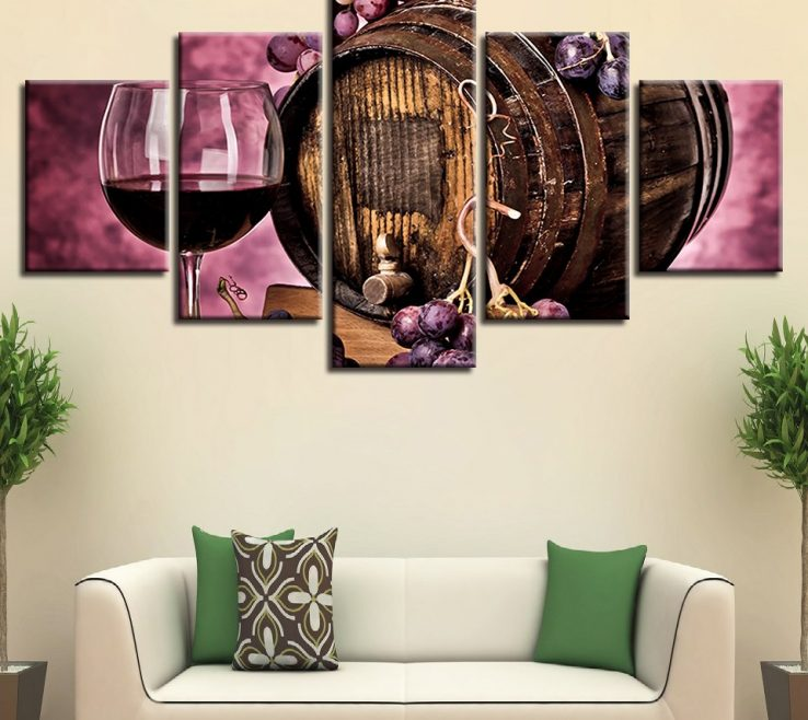 Enthralling Red And Purple Home Decor Of Canvas Painting Framework Hd Prints Oak Barrel