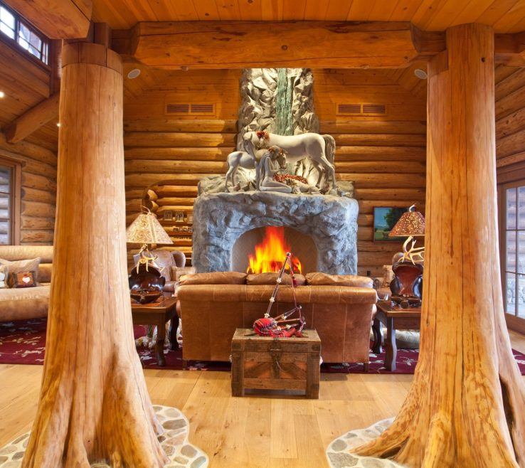 Entrancing Indoor Column Ideas Of Interior Wooden E Wooden Tower Fireplace Fire
