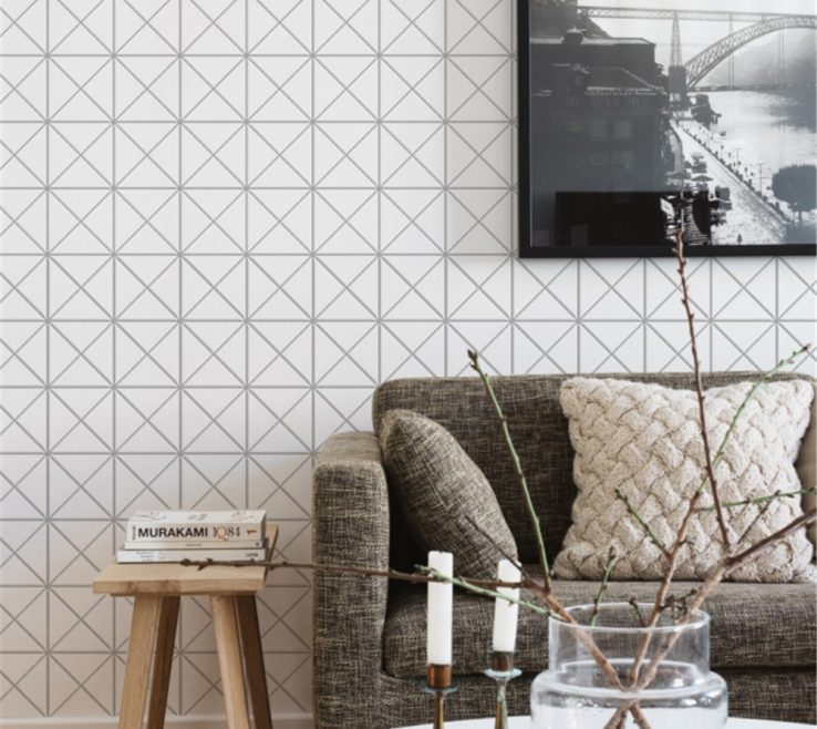 Entrancing Tiles For Interior Walls Of T Mw Pc Matte White Geometric Triangle Tile Wall Design