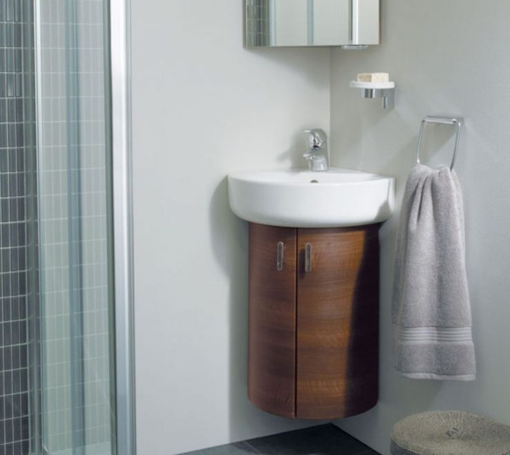 Exquisite Corner Sink Vanity Of Small Bathroom And Single Vessel First Aid