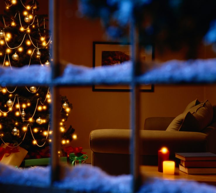 Exquisite Window Sill Christmas Lights Of Snow On A Sill, Inside We See