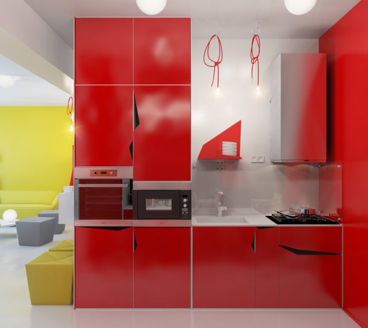 Extraordinary Decorating With Yellow And Red Of Awesome Small Apartment Kitchen Design Bination