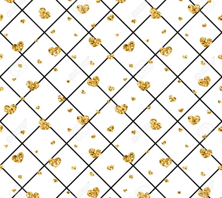 Extraordinary Geometric Decoration Of Black White Decoration Golden Confetti Hearts