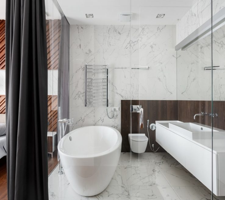 Extraordinary Modern Bathroom Walls Of Alexander Angelovskiy With Marble And Glass
