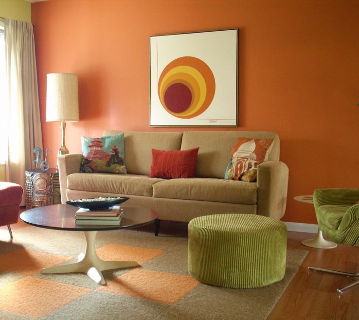 Extraordinary Orange And Brown Home Decor Of Living Room Long Blue Velvet Bined