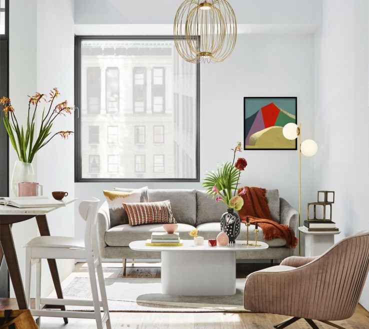Eye Catching Small Space Lighting Of Airy Apartment With H Pastel Details