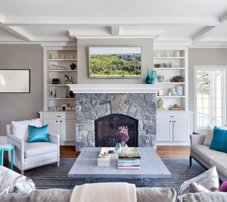 Family Rooms With Fireplaces Of Contemporary Gray Room Stone Fireplace