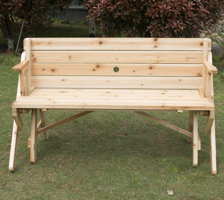Garden Bench Table Of Outsunny 2 In 1 Convertible Picnic &